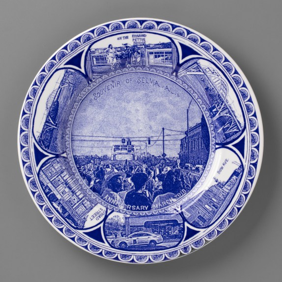 Scott's Cumbrian Blue(s), New American Scenery, Souvenir of Selma, AL. In-glaze screen print (decal) on salvaged Syracuse China with pearlware glaze, 30cm dia. Paul Scott 2019.