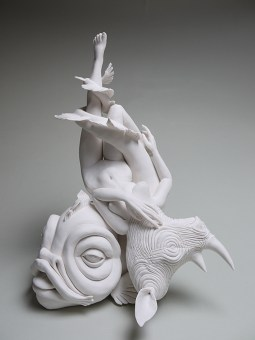 "Crystal Morey, ""Without Borders/ White Rhino Airlift"" 2020, hand sculpted porcelain, 16.5 x 13.5 x 10""."