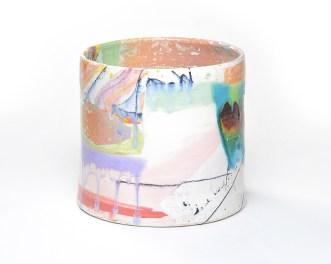 "Lauren Mabry, ""Cylinder 20.02"" 2020, earthenware, slip, glaze, 8 x 8 x 8.5""."