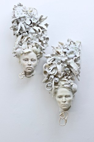 "Cristina Córdova, ""Cuentos del matorral I & II"", 2020, 24 x 14 x 9"". ceramic, underglaze, glaze."