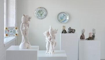 """Nature/Nurture"" Installation View, Crystal Morey, Mara Superior, Kardi Parnamets, 2020."