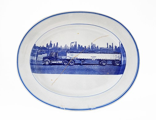"Scott's Cumbrian Blue(s), New American Scenery, Residual Waste No:4. In-glaze decal collage on Danish ironstone platter c.1850, with gold leaf. 400mm x 300mm (15.75""x13""). Paul Scott 2017."