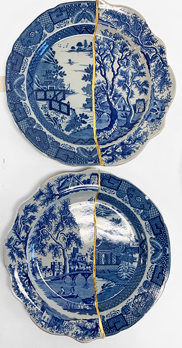 "Scott's Cumbrian Blue(s), Bridgeless Bridge Garden, and Bridge Bridgeless, Garden, 2019, Collage with kintsugi, 'Chinoisserie Bridgeless' by Minton, with 'St Alban's Abbey' by Henshall, (early 19th century transferwares), 9.75 x 9.75 x .875""."
