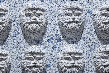 "Hollie Lyko, ""Delft Santa"", 2019, slip-cast porcelain, decals, MDF, 44 x 60 x 5″."