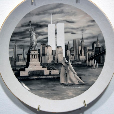 "Hollie Lyko, ""September 11 2001"" 2019, dremel-erased NYC souvenir plates circa 1999, 8 x 8 x 1"", edition of 2."