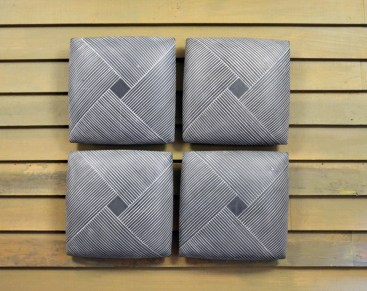 "Giselle Hicks, Grey Tiles with Weaving Pattern, 2019, slip cast porcelain, 20 x 20 x 2""."