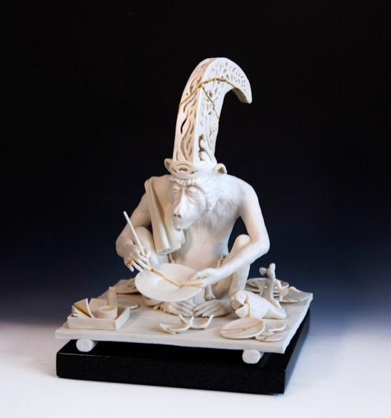 "Tricia Zimic, ""Diligence/Kintsugi"", 2021, porcelain, graphite, 15.5"" x 11.5"" x 11.5"""
