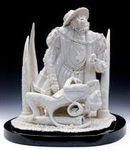 "Tricia Zimic, ""Pride"", 2017, porcelain, glaze, granite pedestal, 13.75 x 13 x 12.5""."
