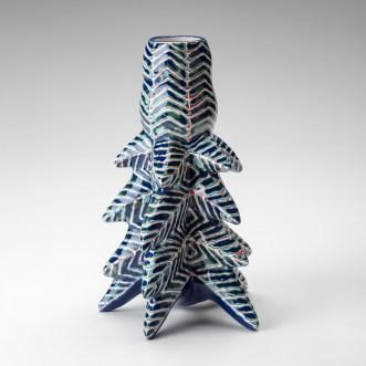 "Kadri Parnamets, ""Chevron Pattern Vase"", 2019, porcelain, slip, glaze, 8.5 x 6 x 5"""
