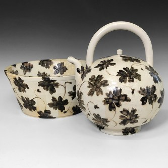 "Linda Sikora, ""Kettle and Basin"", 2019, porcelain, underglaze, salt glaze, Kettle: 11.5 x 10 x 9"" Basin: 5.5 x 12 x 12"""
