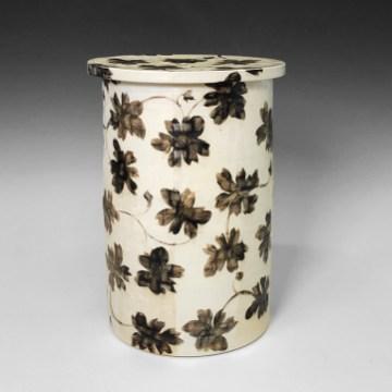 """Linda Sikora, """"Tall Cylinder Jar"""", 2019, porcelain, underglaze, salt glaze, 11 x 7.5 x 7.5"""""""