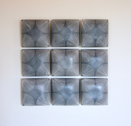 "Giselle Hicks, ""Grey Tiles with Radial Pattern"", 2019, slip cast porcelain, 15 x 15 x 2.5""."