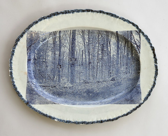 Cumbrian Blue(s), New American Scenery, Near the Oxbow (After Thomas Cole)', No:3. Decal (screenprint) shell edged pearlware platter c.1820, 360mm x 290mm. Paul Scott 2020.