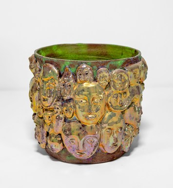 "Beatrice Wood, ""A Centennial Tribute Bowl with Lustre Masks"", circa 1991, raku-fired glazed earthenware, 7.5 x 8.5 x 8.5"""