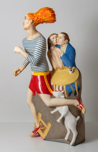 """Sergei Isupov, """"On the Way"""", 2020, porcelain, slip, glaze, 58.5 x 38 x 18""""."""