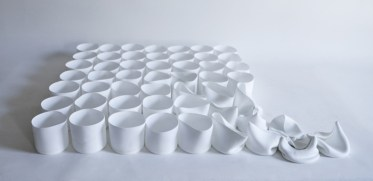 "Gregg Moore, ""52 Bone China Cups"", 2021, 3 x 23 x 30"""
