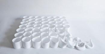 "Greg Moore, ""52 Bone China Cups"", 2021, 3 x 23 x 30"""
