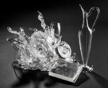 "Beth Lipman, ""Cluster #28"", 2021, glass, adhesive, 12.5 x 19 x 13""."