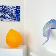"""""""Melting Point"""" Installation view, with Nancy Callan (left and left center) & Laura Kramer (right) 2021"""