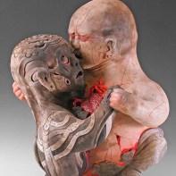 "Kukuli Velarde, ""Pi Padre y Yo"", 1997-2006, low-fire white clay, glaze, oil paint, 22 x 15 x 18""."