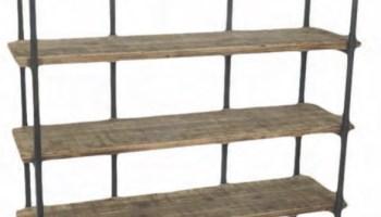 Scaffale in metallo e legno 3 piani con ruote ferrini gift