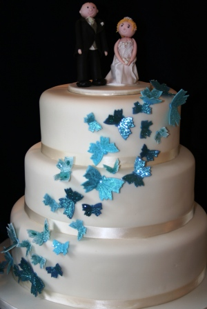 Melanie Ferris Cakes News      Blue Butterfly Wedding Cake 20111204 Blue Butterfly Cake JPG