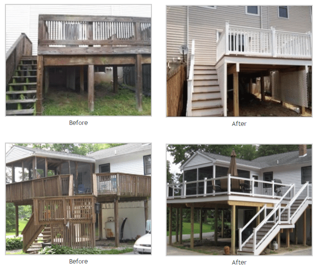 Deck repairs before and after