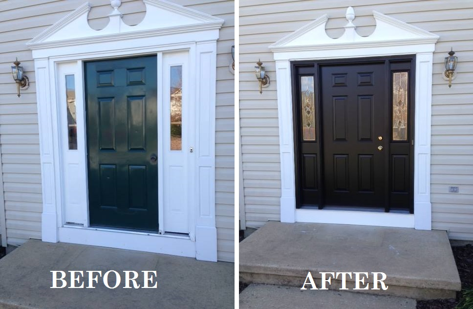 before and after front door installed by Ferris Home Improvements Delaware