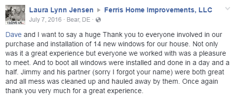 satisfied family new windows by Ferris Home Improvements Delaware