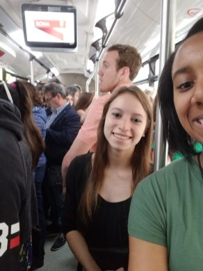 Jordan Dawkins and friend on bus. Courtesy of honors student, Jordan Dawkins.