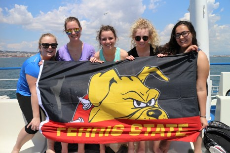 Ferris State University Flag in Italy. Courtesy of Ferris State University Honors Student, Madison Osgood.