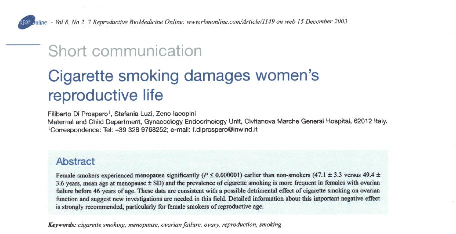 fumo di sigaretta e infertilità