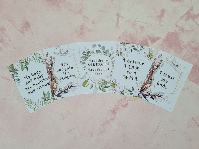 Labour affirmation cards - floral