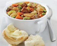 Easy Spicy Beef Stew and Whole Wheat Flaxen Biscuits