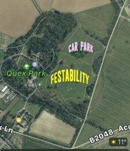 Overhead view of Quex Park and Festability