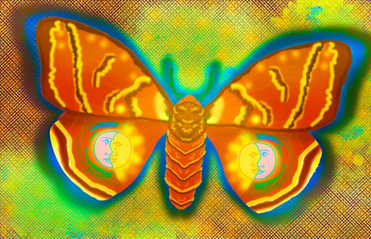 A digital illustration of a fuzzy moth. The moth is a vibrant orange shade and is surrounded by a halo of electric blue. There are highlighter yellow stripes on all of the moth's wings and on each of the lower wings are line drawings of a sun and a moon. The background is a distorted, pixelated pattern in shades of maroon, mint green, highlighter yellow, and vibrant orange.