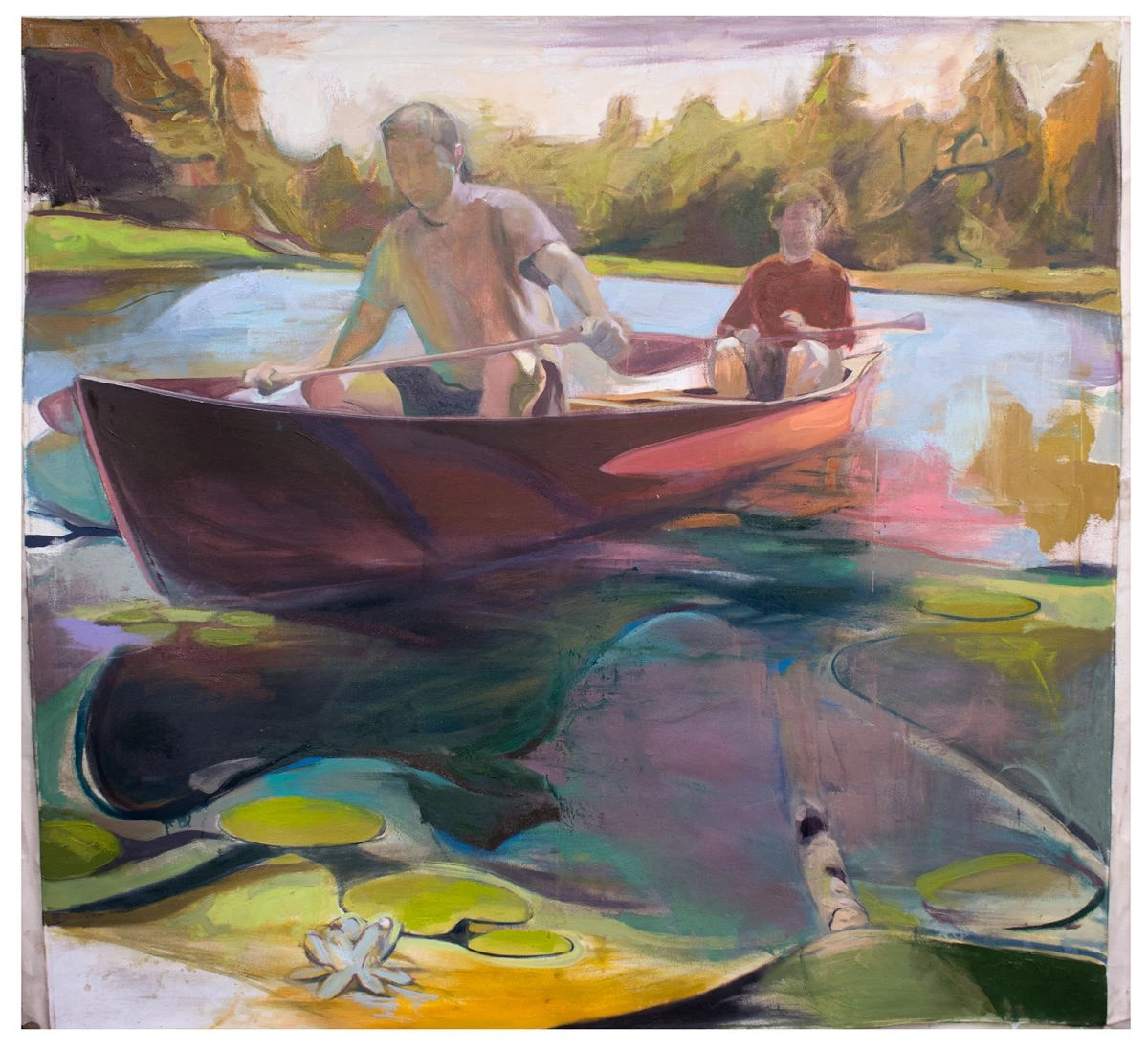 An oil painting of two boys in a canoe on a lake. The painting is in an impressionistic style where the colors blend together and the boys in the canoe do not have distinguishable faces. The boy at the bow of the canoe is wearing a white shirt and blue shorts and the boy at the stern is wearing a red shirt and blue shorts. Both boys are pale and have their paddles out of the water, as if they are resting and taking in their surroundings. The canoe is a shade of reddish brown that blends into the water, which is mixed with shades of pastel green, blue, periwinkle, and pink. There are several lilly pads with white flowers in the lake. The background is a pine forest in a swampy green shade and the sky is a murky white.