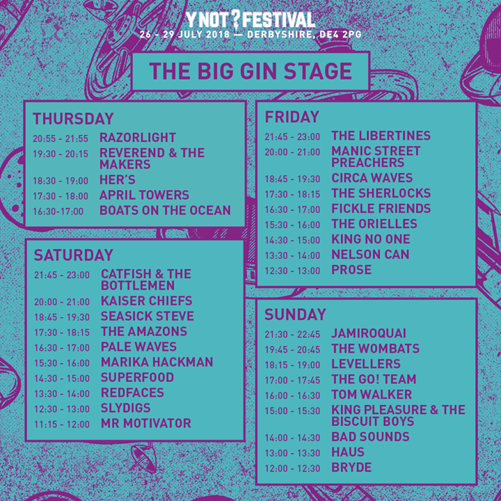 LINE UP TIMES ARE IN!