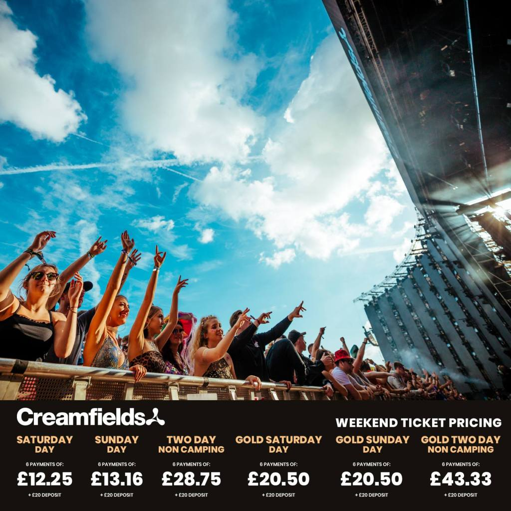 Get to #Creamfields2019 for just a £20 deposit...You won't regret it