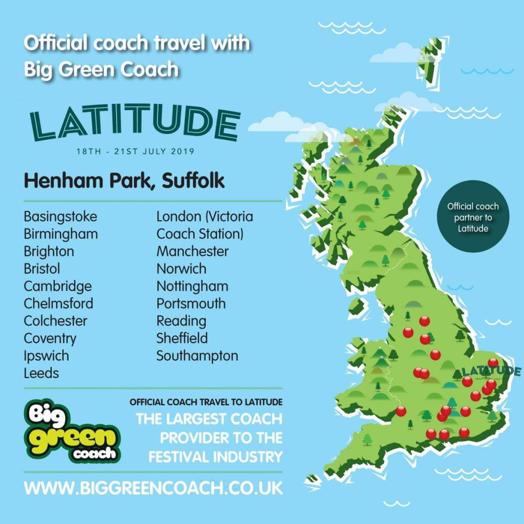 Take the hassle out of your journey and travel to Latitude with Big Green Coach....