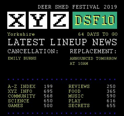 We regret to announce that Emily Burns is unable to perform at #DeerShed10. As e...