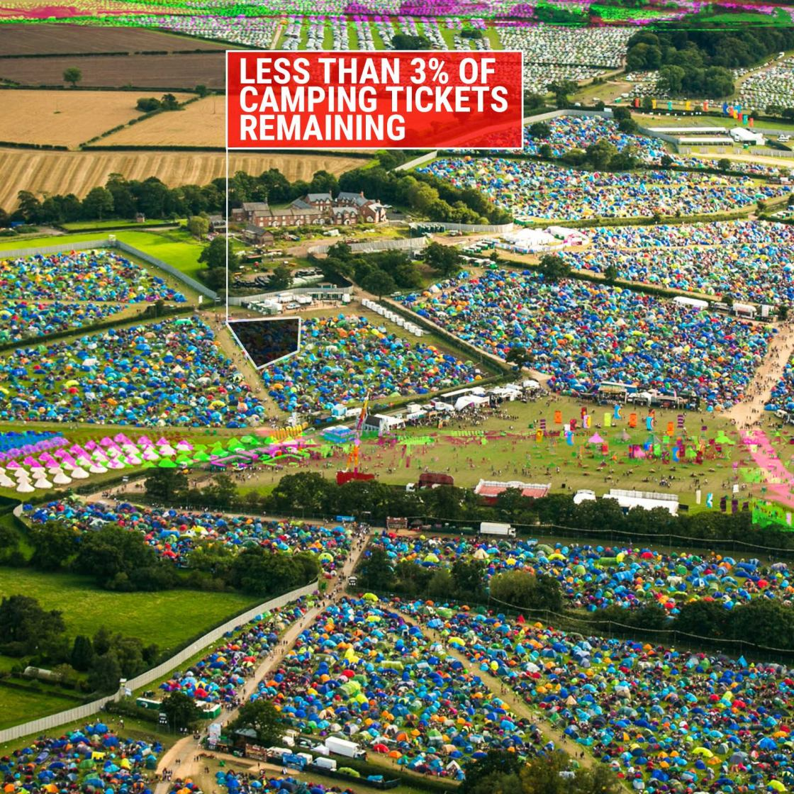 Less than 3% of camping tickets remaining...