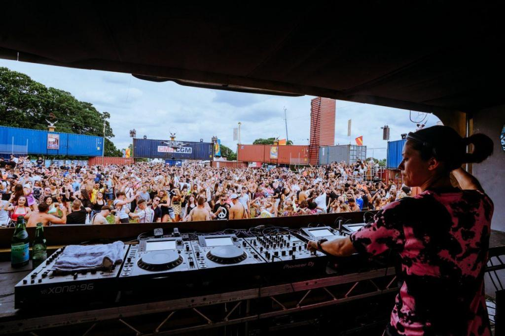 Monki - DJ setting the levels for Defected Records at the Switch Yard!...