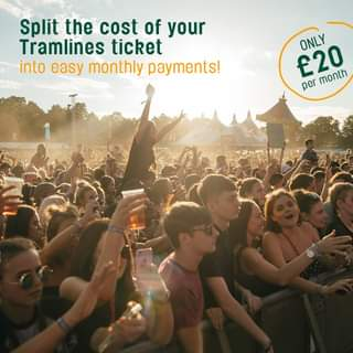 """Image may contain: 10 people, people dancing, crowd and outdoor, text that says """"Split the cost of your Tramlines ticket into easy monthly payments! ONLY £20 month per"""""""