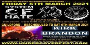 """May be an image of text that says """"HOLROYD FRIDAY 5TH MARCH SYSTEM 2021 DOORS OPEN PM GUILDFORD £10ONLYIN ADVANCE DOOR TICKETS WILLBE AVAILABLE SOC DISTANCED RESCHEDULED το SAT 6TH MARCH 2021 KIRK BRANDON DESTINY DEAD WALKING ADVANCE JOE BITTER"""""""