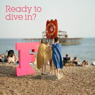 """May be an image of one or more people, outdoors and text that says """"Ready to dive in? 1 E"""""""