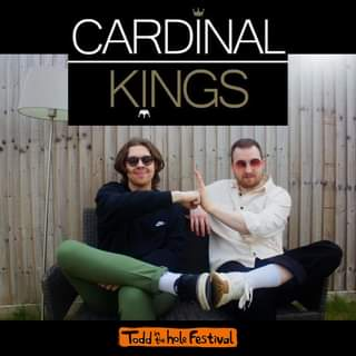 """May be an image of 2 people and text that says """"CARDINAL KINGS TOd the hole Festival"""""""