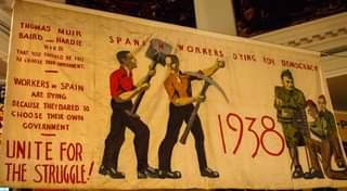 """May be an image of 1 person and text that says """"THOMAS MUIR BAIRD AND HARDIE THAT YOU SHOULD BE FREE DIED To CHOOSE YOUR GOVERNMENT. SPAN WORKERS DYING FOR DEMOCRACY WORKERS SPAIN ARE DYING BECAUSE THEY DARED TO CHOOSE THEIR OWN GOVERNMENT UNITE FOR THE STRUGGLE! ሲለ138 1938"""""""