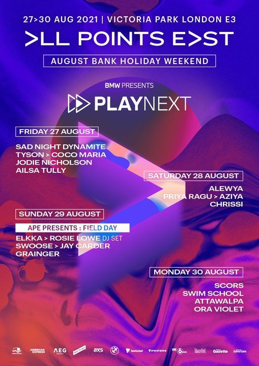 Hugely excited to welcome the BMW UK Play Next stage to All Points East! In line with their brillian...