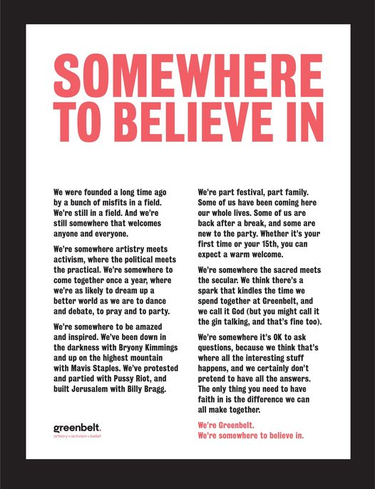 We're Greenbelt. We're somewhere to believe in. Come and see for yourself next A...